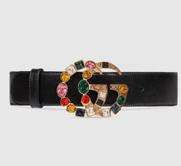 Scatole regalo in stile vintage online-Cintura donna in vera pelle nera con fibbia ad ardiglione con fibbia in cristallo colorato Donna in stile vintage con scatola per regalo 78187