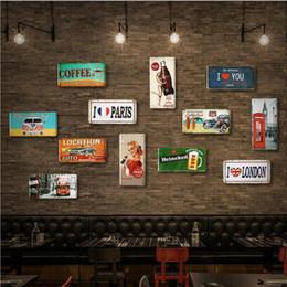 Canada Navire libre Européenne Vintage plaque en métal peinture fer artisanat bar boutique de vêtements décoration photos café peinture murale 10 pcs cheap european number plates Offre