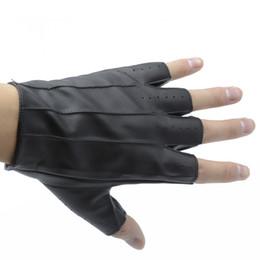 танцевальные перчатки мужчины Скидка Men Leather Gloves High Quality Slip-resistant Half Finger Sheep Leather Fingerless Gloves Dance Stage Driving