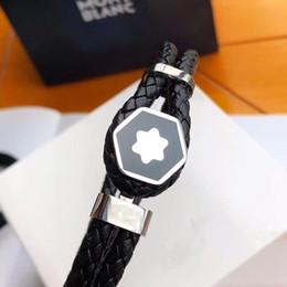 шесть французских Скидка Дорогих MB черный кожаный браслет браслеты с Six звезды Брендинг французские браслеты шарма ювелирных изделий для человека Wear Pulseira Как Рождественский подарок