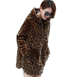 2019 peles coreanas Moda com capuz de leopardo casual quente Coréia mulheres jaqueta plus size 5XL Outono inverno novo casaco de pele do sexo feminino médio longo Sobretudos G929 desconto peles coreanas