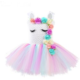 Meninas traje arco íris on-line-Girls Unicorn Flower Tutu Dress Pastel Rainbow Princess Girls Birthday Party Dress Children Kids Halloween Unicorn Costume AAA1874
