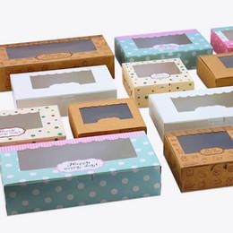 Caixa nova dos bolos do favor on-line-Nova Chegada Kraft Caixas De Cookies com clara Janela 20 pçs / lote Bolo Caixas De Doces Favor Para Os Convidados Do Partido