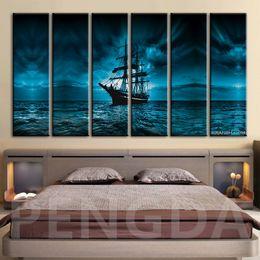 hd boot malerei Rabatt Leinwand HD Gedruckt Malerei Framed Hauptdekoration-Wand-Kunst Bilder Sea Wave Segelboot Nacht Seascape Schlafzimmer Plakat Artworks