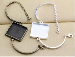 lunette carrée Promotion 10kits 25mm Carré À La Main Bracelets Courbé Connecteur Plateau Cadres Cadre Blanc Pour DIY Bracelet Bijoux Accessoire Conclusions