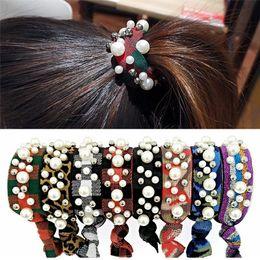 Scrunchies del pelo de la perla online-Nuevo diseño de las mujeres anillo de pelo de la perla arco iris elástico del pelo Scrunchie Ponytail Holder gran niña cuerda de pelo