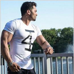 Tasarımcı Yaz Kas Estetiği Yeni Spor Sıkı erkek Kısa Kollu Spor Koşu Rahat Moda T-shirt Elastik V Yaka Ince supplier t shirt muscle v neck nereden tişört kası v boyun tedarikçiler
