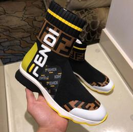 2019 mocassim de pano preto New Black White Designer Meias Sapatos de Moda de Luxo FF Homens Mulheres de Alta Ajuda Elástico pano Sapatilhas Ocasionais Mocassins Sapatos 35-45 mocassim de pano preto barato