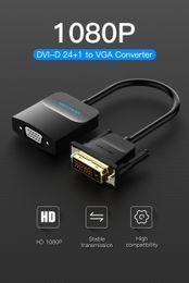 cable dvi d vga Rebajas Vention DVI D a VGA Adaptador DVI 24+ 1 VGA Cable convertidor de audio analógico digital convertidor 1080 P para Xbox PS3 caja de TV portátil