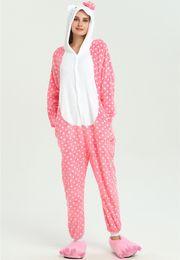 Dot Kitty Cat Winter Pajamas For adult Cartoon Animal Kids Costume Boys Onesie  Sleepwear Jumpsuit KD-052 a69a8ccf7