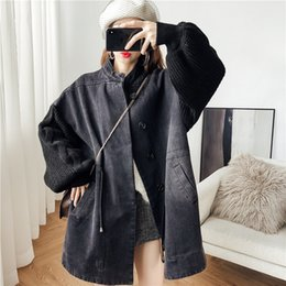 Giacca in denim del manicotto online-DEAT Fashion Loose Knitting Lantern Sleeve Women's Denim Jacket Casual Single-breasted Hot Sale Trendy Autumn Clothes Coat BE956