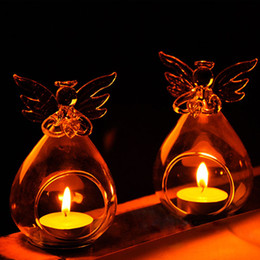 Blockgehäuse online-Engel Glas Kerzenständer Kristall Hängen Teelicht Kerzenhalter Wohnkultur Kerzenständer Haus Kerzenhalter