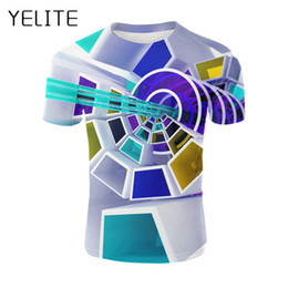 2020 nuovo modello tshirt YELITE Tecnology Printed T Shirt T-shirt colorata Creative Hole Pattern Tshirt New Fashion Mens Tops Estate City Night Tshirt 3d nuovo modello tshirt economici