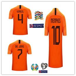 calcio jersey arancione Sconti Maglie calcio nuovi Paesi Bassi 2019 MEMPHIS home orange netherland JERSEY DE LIGT VAN DIJK VIRGIL DE JONG Roon Maglie calcio olandese