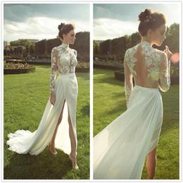 Pure col haut manches longues en mousseline de soie gaine robes de mariée dentelle top froncé robes de mariée Split robes de mariée robe de mariage ? partir de fabricateur