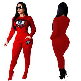 Красная глазка онлайн-2019 New Sequins женский комплект с большими глазами печатные толстовки костюм 2 шт. Набор уличной красный черный