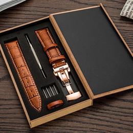 Argentina Correa de la correa del reloj de cuero genuino para el tamaño de la correa de reloj 12 13 14 15 16 18 19 20 21 22 24 mm Pulsera de pulsera de reloj marrón negro con herramientas Suministro