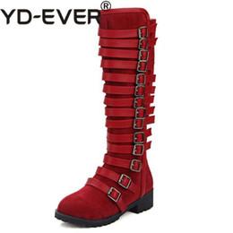 2019 fibbie di stivali al ginocchio New Women Round Toe Flat Knee Boots Donna Warm Fur Winter Knight Boot Donna Fibbia Stile Scarpe Calzature Taglia 33-46 sconti fibbie di stivali al ginocchio