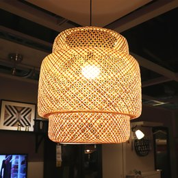 Modern Bamboo LED E27 Vimini in vimini Rattan Wave Pendant Light Vintage Lampada giapponese Sospensione Home Indoor Dining Room cheap modern rattan lighting da illuminazione moderna di rattan fornitori