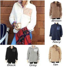 2019 suéteres botones grandes Sherpa Pullover Mujeres chicas grandes  Invierno otoño Fleece Sudadera 2018 nuevo Medio 1d284ca8658f