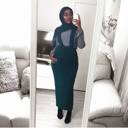 belted pencil skirt Promo Codes - Fashion Women's Belt Skirt Overalls Dress Muslim Bottoms Long Skirts Pencil Skirt Ramadan Party Worship Service Islamic Clothing