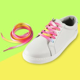 819a30a1b5 120cm Rainbow Glowing Color Pink Flat Shoelace Sports Casual Shoes Laces  Sneaker Boots Shoe Strings 0.8cm