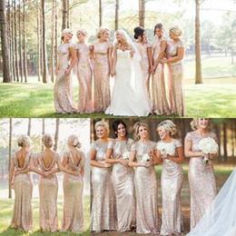 Lentejuelas Hign-grado Vestidos de Shinny Vestidos de dama de honor de la boda Sexy Backless Montón Collar Vestido de bola Vestidos largos desde fabricantes