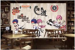 carta da parati nera Sconti WDBH 3d foto wallpaper murale personalizzato Retro nostalgico cartone animato taekwondo soggiorno pittura decorazioni per la casa 3d murales carta da parati
