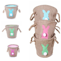 bolsas de arpillera para regalo Rebajas Moda hot Easter Cute Gifts Tote Handbags Double Raised Basket Rabbit Burlap Bags Party Favor T7I5020