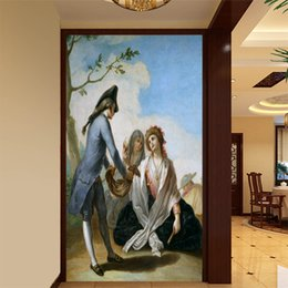 oil absorbing papers Promo Codes - Custom European oil painting Famous painting character wallpaper TV background wall paper large mural hotel villa hall decor