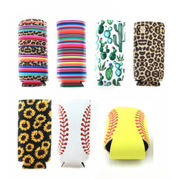 maniche bottiglia di birra Sconti Sottile Can Beer Insulators Premium Neoprene Beverage Cooler Cola bottiglia di soda pieghevole Koozies Cactus Leopard Can Sleeve colori assortiti