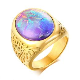 синий оттенок Скидка Мода Blue Stone Casting Кольца Мужчины Кольцо Из Нержавеющей Стали Золотого Цвета мужская Обручальное Кольцо Ювелирные Изделия