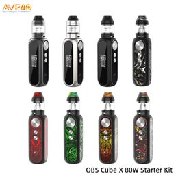 X cube mini on-line-Cubo OBS Kit X 80 W Alimentado por Único 18650 Bateria Com 4 ml Cube X Tanque De Malha V OBS Cubo Mini 100% Original