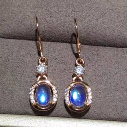 2019 fil étoile rouge Boucles d'oreilles pendantes Uloveido Blue Moonstone pour femmes, bijoux de mariage en argent sterling 925, 5 * 7mm avec certificat de boîte de velours FR162