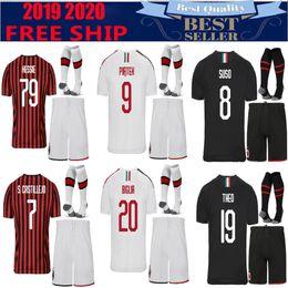 Kit de futebol ac milan on-line-AC milan 19 20 kit adulto  camisa de futebol 2019 2020 PIATEK camisa de futebol PAQUETA SUSO CALDARA CUTRONE camisa de futebol ROMAGNOL