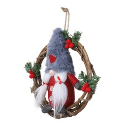 christmas wreaths for door Coupons - Christmas Garlands Plush Dolls Gnome Santa Xmas Tree Door Rattan Wreath With Swedish Hanging For Wall Window Hall Decor