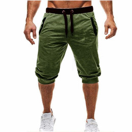 2019 nuevos pantalones para hombre de moda Pantalón holgado para hombre Pantalones cortos delgados ocasionales del Harem Pantalones suaves 3/4 Nueva marca de moda con logotipo Hombres Pantalones deportivos Cómodos pantalones cortos para hombre M-3XL rebajas nuevos pantalones para hombre de moda