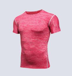 Calzamaglia rossa online-Manica corta da uomo per uomo Fitness Outdoor Running ad asciugatura rapida Basket da allenamento traspirante Calzamaglia sportiva T-shirt tees Rosso S-XXL