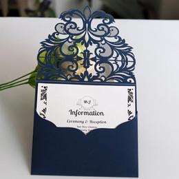 10pcs Set Invitaciones De La Boda Tarjetas De Láser Azul Color De La Boda Tarjeta De Felicitación De Estilo Europeo Encaje Fiesta De Compromiso