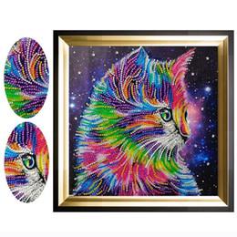 2019 imagens de colorful animal Atacado 5D Especial Diamante Pintura Colorida Cat Animal Diamante Bordado Imagem Dos Desenhos Animados do Ponto da Cruz Imagem 30x30 cm imagens de colorful animal barato