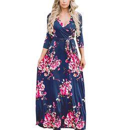 Vestito maxi da donna con stampa floreale estiva Vestito lungo da donna sexy Boho Long Beach con maniche lunghe aderenti Vestito aderente alla moda Plus Size XXL Vestidos da