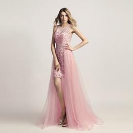 2018 elegante rosa organza prom dresses gioiello cava posteriore abiti da sera perline detachbale trian abiti da sera abiti formales de noche da