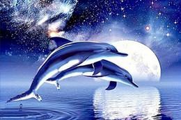 peinture de diamant bleu Promotion 5D DIY Animal Blue Dolphin Plein De Diamant Peinture Point De Croix Kits Sur le forage Décoration de La Maison