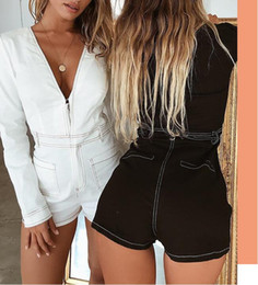 e5a9ba8d727 White Black Playsuit Women Jumpsuit Shorts Long Sleeve Rompers Ladies  V-Neck Sexy Jumpsuit Femme Short Overall Bodysuits Jumpers