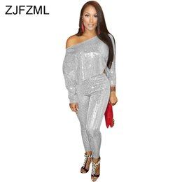7b6d98f5137 Sparkly Sequin Sexy Two Piece Tracksuit Women One Shoulder Long Sleeve Loose  Crop+And High Waist Pencil Pant Elegant Club Outfit