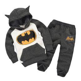 Batman trainingsanzüge online-Super Kinder Anzug Kleidung Hoodies + Pants / Anzug Batman Kostüm Kinder Trainingsanzug Winter verdicken Mischungsauftrag Dropship