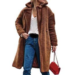 Mujeres otoño abrigo de peluche de piel sintética abrigo de solapa cuello femenino largo flojo señoras de moda chaquetas de piel Outwear Manteau Femme Hiver desde fabricantes