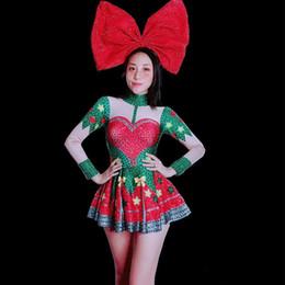 Argentina El último vestido de fiesta de Navidad vestido rojo Rhinestones vestido corto Sexy fiesta Rave Mini vestido discoteca Bar cantante anfitrión trajes de baile cheap christmas short outfit Suministro