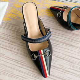 2019 guantes de vestir Nuevo tobogán de tacón medio con punta estrecha en punta Mule Cuero genuino Mujer Vestido Zapatos Mulas de lujo tamaño 35-40 Modelo RZ010 rebajas guantes de vestir