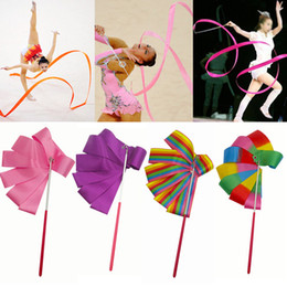4 M Colorful Gym Nastri Danza Nastro Ritmico Art Gymnastic Balletto Streamer Twirling Rod Stick Per Palestra Formazione Professionale 4 Metri da regali ginnastici fornitori